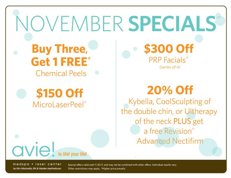 Check our Avie's November 2017 Specials!