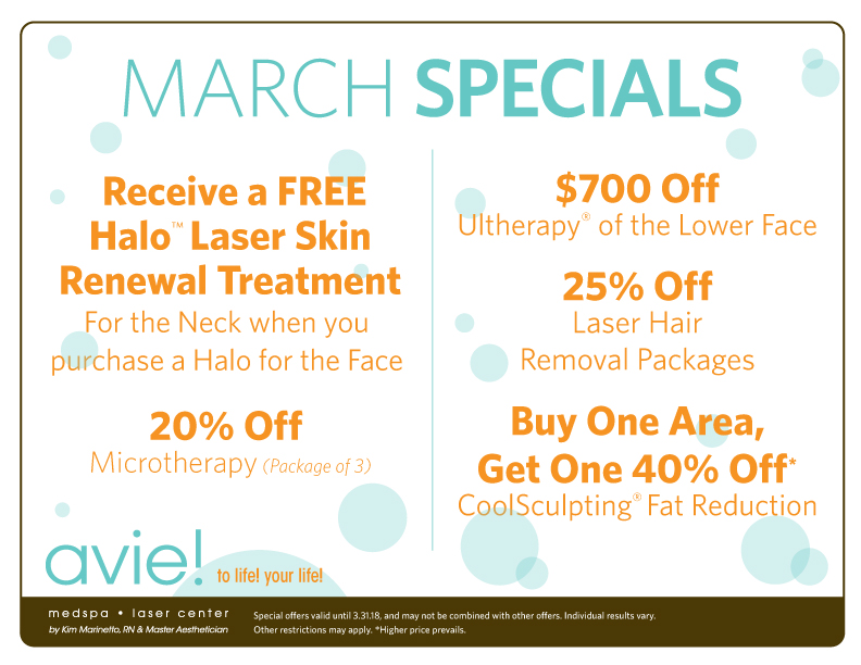 Check out Avie's Avie's 2018 March Specials!