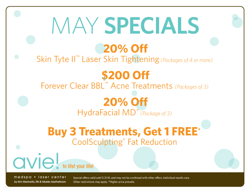 Avie MedSpa Specials for the month of April
